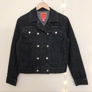 Isaac Mazrahi Black Denim Jean Jacket Size S